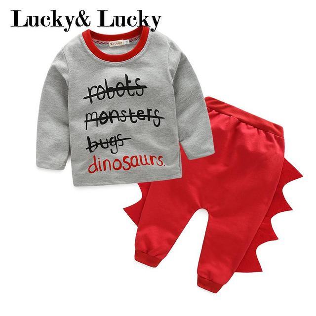 Dinossauro bebê menino conjunto de roupas recém-nascidos de algodão letra impressa t-shirt + calças roupas de bebê menino