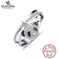 Authentic Special X Design 100 925 Sterling Silver Rings With Panda Pendant Compatible With European Original