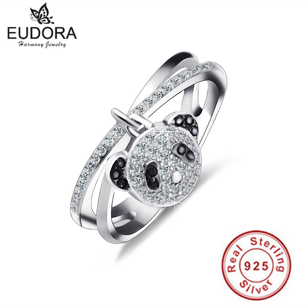 EUDORA Authentic Special X Design 100% 925 Silver Cute Panda Rings AAA Zircon Bridal Sets Fashion Sterling Silver Jewelry CYD027