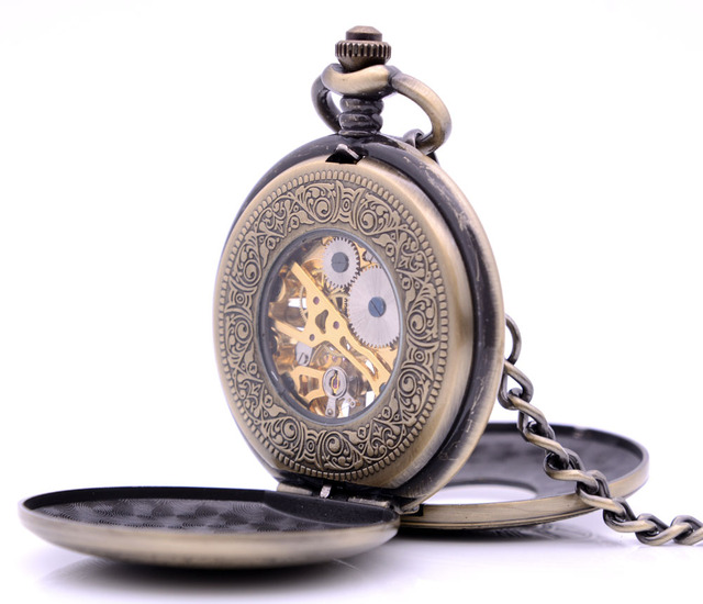 Antique Steampunk Vintage Mens Pocket Watch Hand Wind Mechanical Skeleton Double