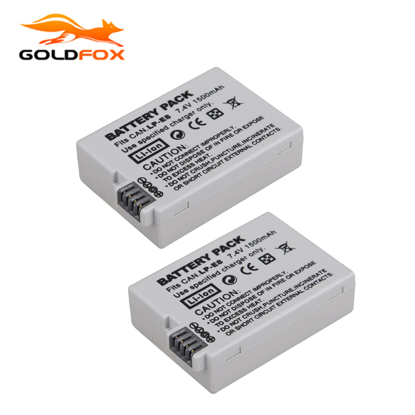 купить 2Pcs 1500mah LP-E8 LP E8 LPE8 Camera Battery For Canon 550D EOS 600D 650D 700D T4i T5i Rebel T2i Batttery по цене 662.98 рублей