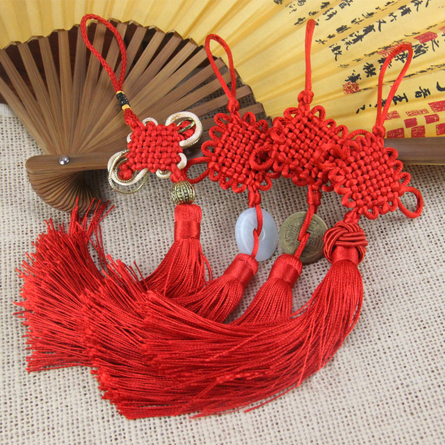 4pcs/lot 6 Colors Chinese Knot Set Combination  tassels knot Silky Handmade  Soft Tassels with Satin Silk Made Chinese Knots