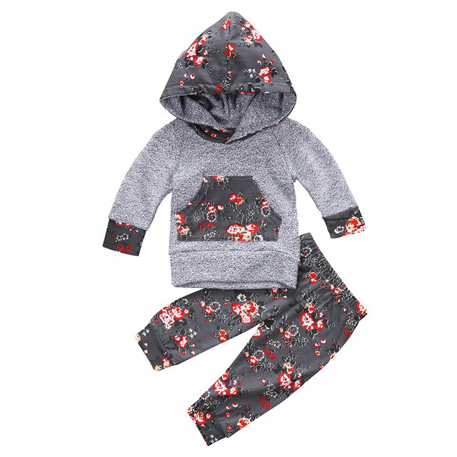 52868f03b7e8 Autumn Winter Newborn Infant Baby Girls Floral Clothes Hoodie ...