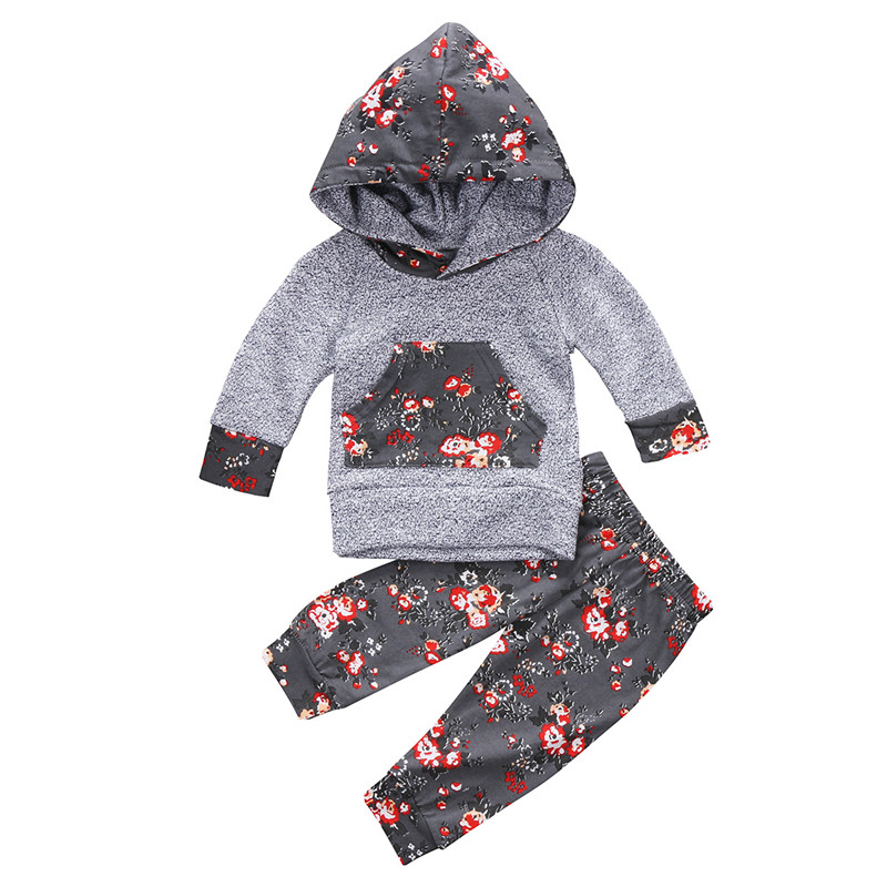 Autumn Winter Newborn Infant Baby Girls Floral Clothes Hoodie Sweatshirt Top Sweat Pants 2pcs Outfits Set Toddler Clothing