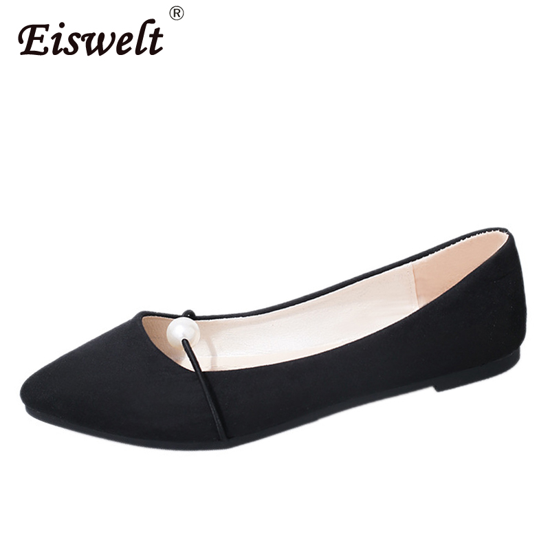 EISWELT Women Flats Spring Fashion Shoes Solid Female Flat Shoes Shallow Summer Shoes Ladies String Bead Lace-up Women's Flats eiswelt women flats shoes comfortable flat air mesh spring summer shoes female casual fashion slip on shoes for women flats