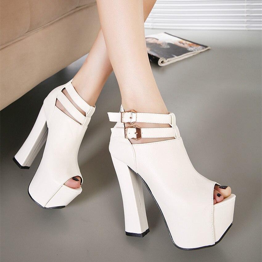 ФОТО 2016 Spring Korean Style Women Platform shoes With High Heels Pumps Peep Toe White/black sexy women Shoes high heel  YH920
