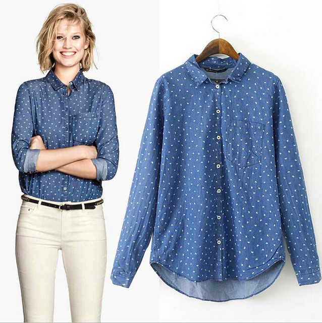 d3311e185dd Printed Jean Shirt Women Denim Shirt Long Sleeves Blouses and Shirts for  Ladies Summer Casual Tops Blue Camisa Jeans Feminina