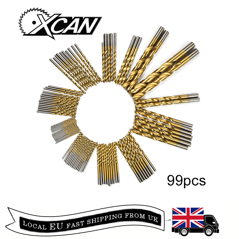 Free Shipping XCAN 99pcs/Set Titanium Coated HSS High Speed Steel Drill Bit Set Tool 1.5mm - 10mm Twist Drill Bit