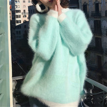 HAMALIEL Elegant Autumn Winter Women Mink Cashmere Soft Long Pullovers Fashion Mohair Thick Knitted Loose Lazy Warm Sweater Tops(China)