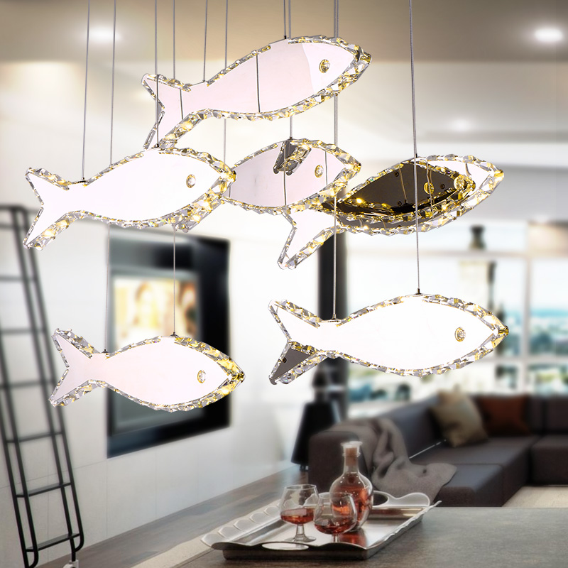Simple modern restaurant Pendant Lights crystal fish droplight bar counter LED pendant lamps creative personality lamps TA9156