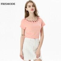 Colori della caramella Ribbon Lace Up In Cotone T-Shirt per Le Donne 2017 Fashion Figura Lusinghiero Rosa Verde tees Estate Tops T-Shirt Femminile