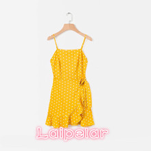 Summer dress 2018 off shoulder sexy bow party red mini beach yellow backless elegant dots vestidos korean fashion