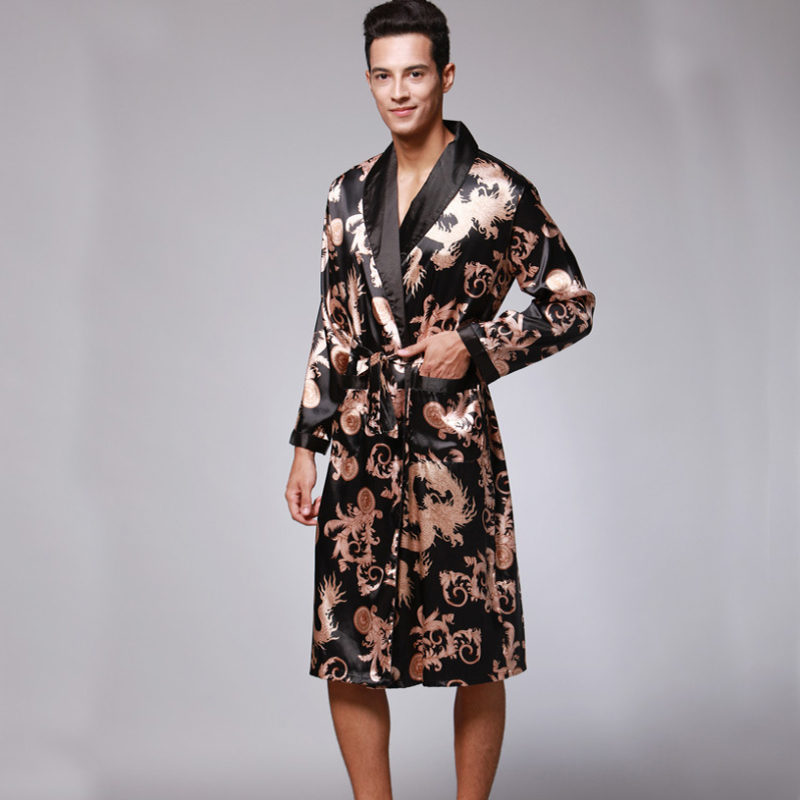SSH0127 Spring Autumn Men's Bathrobes Printed Male Pajamas Full Sleeves Nightwear Sleepwear Satin Silk Robe Pyjama Belt Men Robe