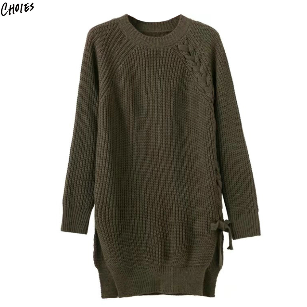 3 Colors Lace Up Lattice Side Split Long Sleeve Knitted Sweater Dress Women Round Neck Straight Winter Warm Basic Dresses