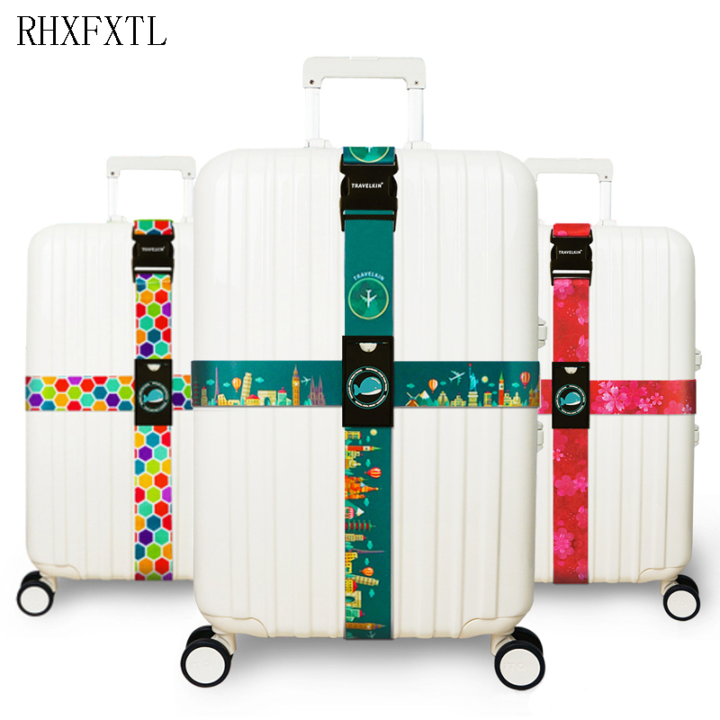 RHXFXTL Brand Luggage Cross Belt Adjustable Travel Suitcase Band Luggage Suitcase Rope Straps Travel Accessorie High Quality H23
