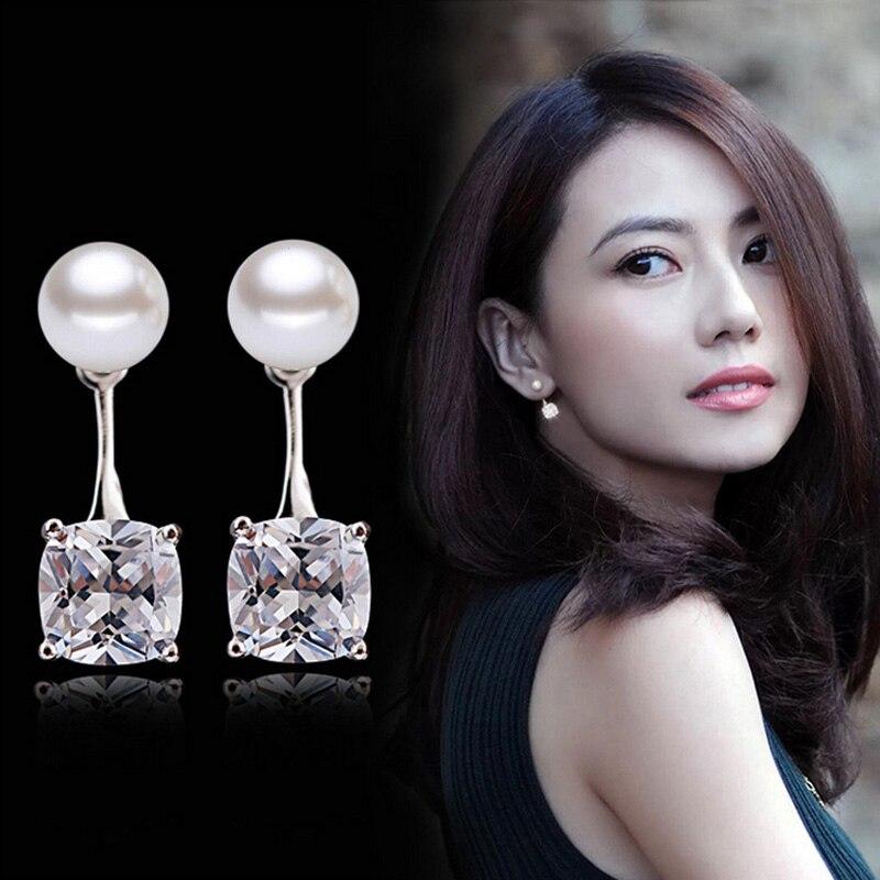 SAISEE Luxury Shining Crystal Stud Earrings For Women Pearl Cubic Zirconia Earrings Fashion Wedding Jewelry Mixed Wholesale E10