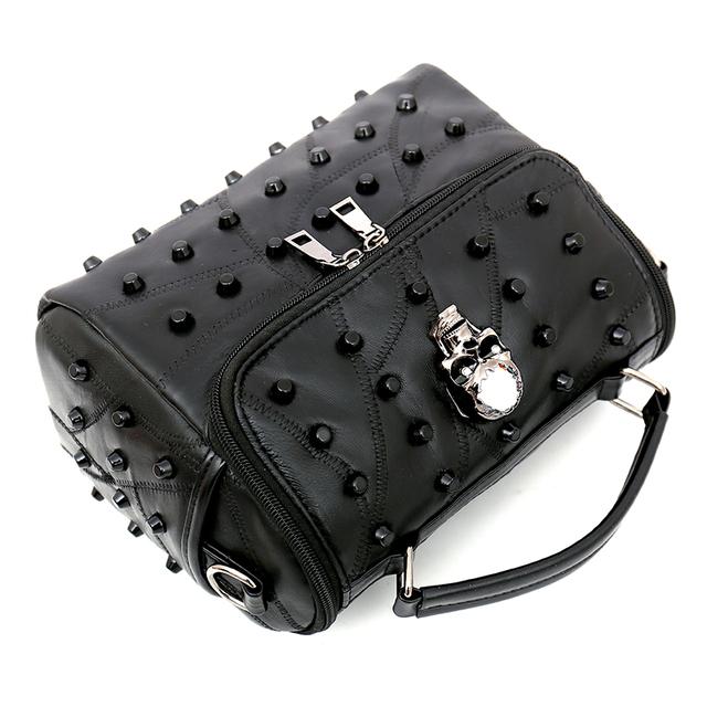 Split Sheep Leather Messenger Bag With Skull Rivets