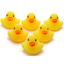 1/5/10/20Pcs Yellow Baby Children Bath Toys Cute Squeaky Duck Ducky Rubber Race Duck Bath Toy for Baby(China)