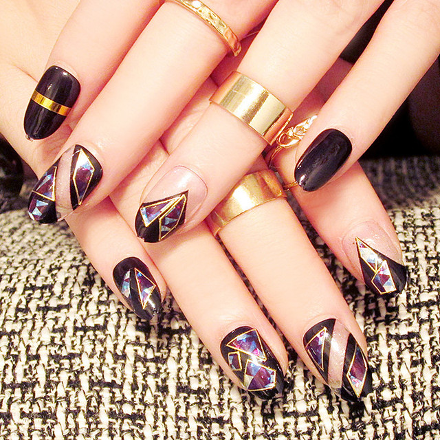 Black round head Nail Art Tips Dazzle colour Fake Finger Tips Good ...