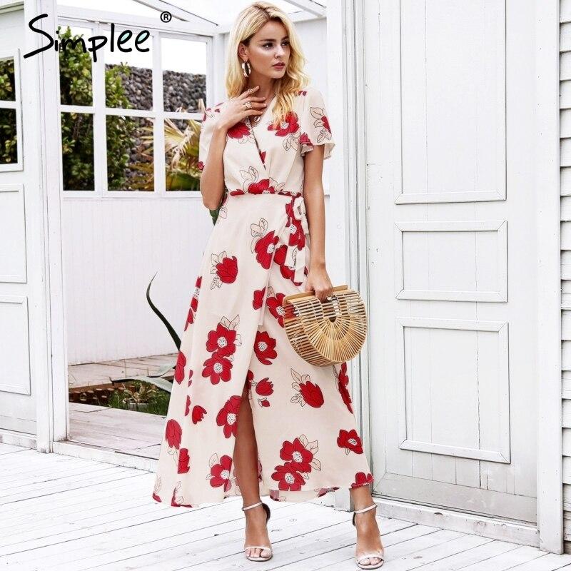 7513c66067 Simplee Boho floral print beach long dress women Ruffle short sleeve wrap maxi  dress Sexy v neck summer dress chiffon vestido