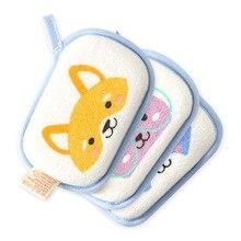 Baby Bathing Cotton Towels Cartoon Baby Shower Accessories for Newborn Bath Sponge Child Sponge Bath Towel Baby Rub 3pcs Lot