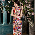 New Vintage Noble Traditional Chinese Clothing Short Sleeve Long Cheongsam Sexy Velour Print Qipao Dress ZA0140