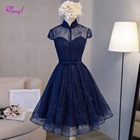 Fmogl New Fashion High Neck Button Vintage Homecoming Dresses 2018 Charming Sashes Party Gown Short Sleeve Lace Graduation Dress