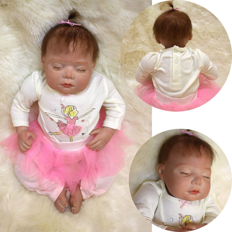 "Здесь продается   50cm/20"" Sleeping Baby with Pony Tail Vinyl Handmade Soft Touch Reborn Dolls with Pink Lace Skirt Kids Toy Gift  Игрушки и Хобби"