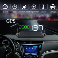 Dealcoo 5.0 Inch GPS HUD Car HUD GPS Head Up Display Projector on The Windshield GPS Speedometer HUD Display Car Speed Projector