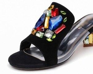 VANKARING/модные вечерние свадебные туфли со стразами; женские босоножки на среднем каблуке; Новинка 2020 года; брендовые шлепанцы на высоком кабл...