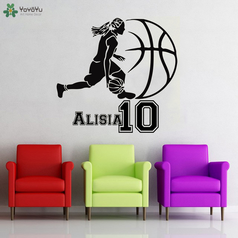 Incredible Us 6 33 26 Off Yoyoyu Wall Decal Basketball Personalised Girl Name Wall Stickers Sports Exercise Wall Decor For Girls Bedroom Vinyl Art Qq358 In Download Free Architecture Designs Barepgrimeyleaguecom