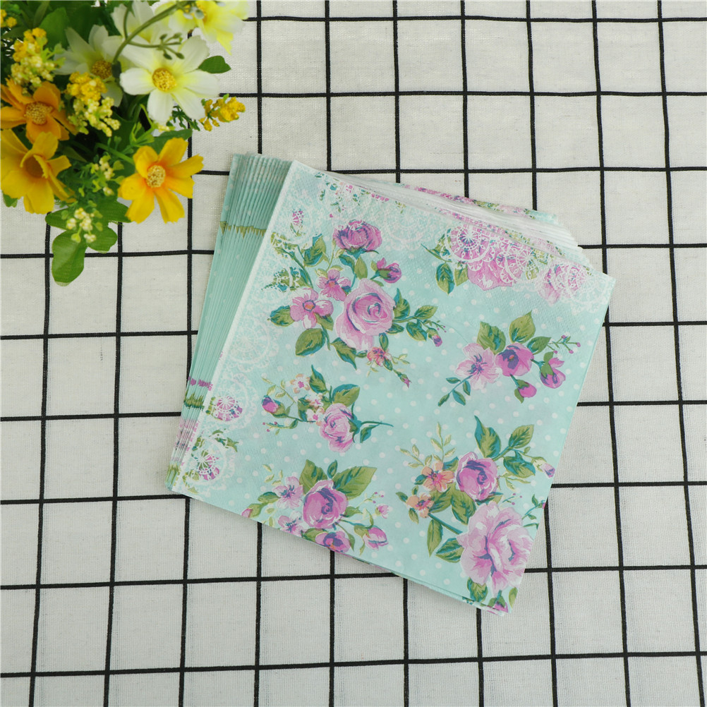33x33cm 20X Beverage Paper Napkins Rose Green Napkins Decoration Serviettes Event & Party Tissue Supplies