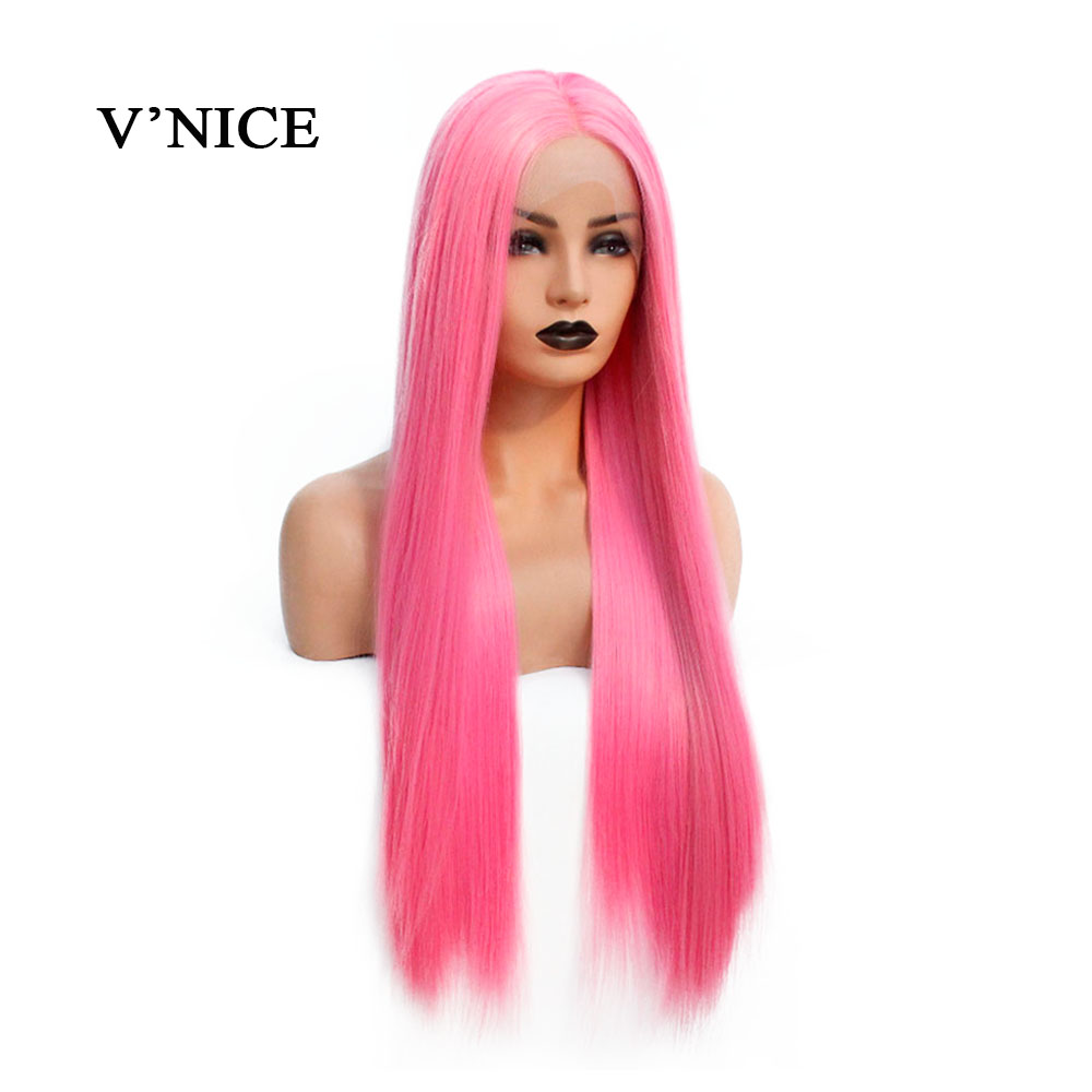 V NICE Glueless Synthetic Lace Front Wig for Black Women Natural Hairline Long Straight Pink Wigs