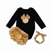 2016 New Infant Clothing Set Newborn Baby Bodysuits Gold Shorts Hair Hoop Christmas Wear Toddlers Clothing