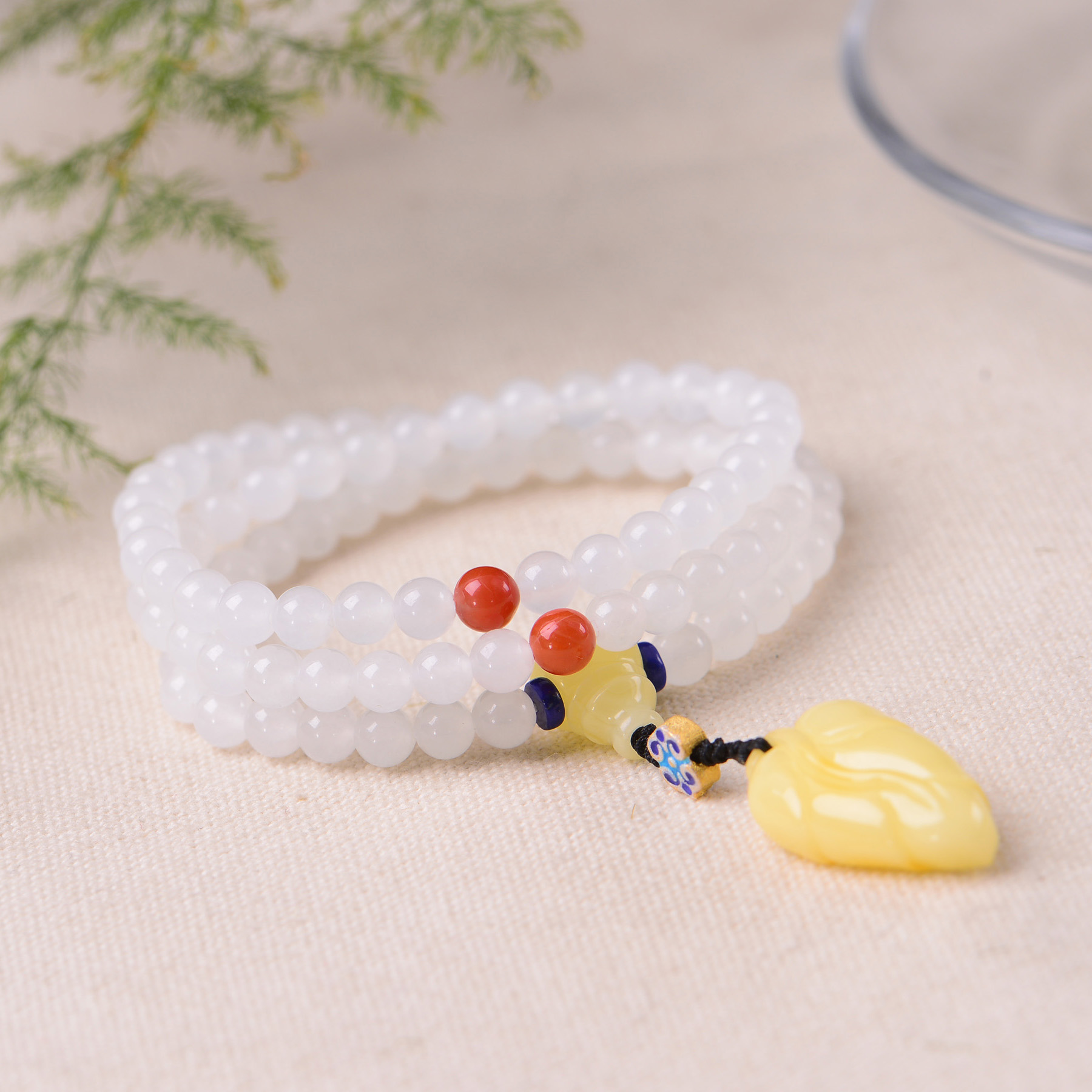 Handmade Authentic Hetian Crystal Beads Bracelets 6mm