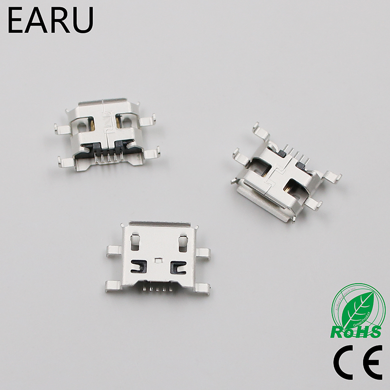 <font><b>10pcs</b></font> Micro <font><b>USB</b></font> 5pin B type 0.8mm Female <font><b>Connector</b></font> For Mobile Phone Mini <font><b>USB</b></font> Jack <font><b>Connector</b></font> 5pin Charging Socket Four feet plug image