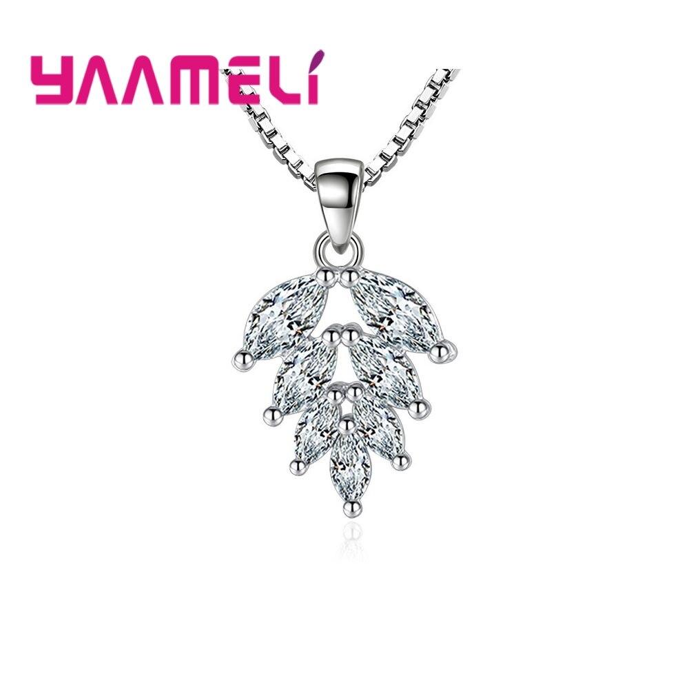 Натуральный стиль для спорта и отдыха, модель из стерлингового серебра 925 пробы с кристаллами в форме листа, вечерние платья для девушек и де...