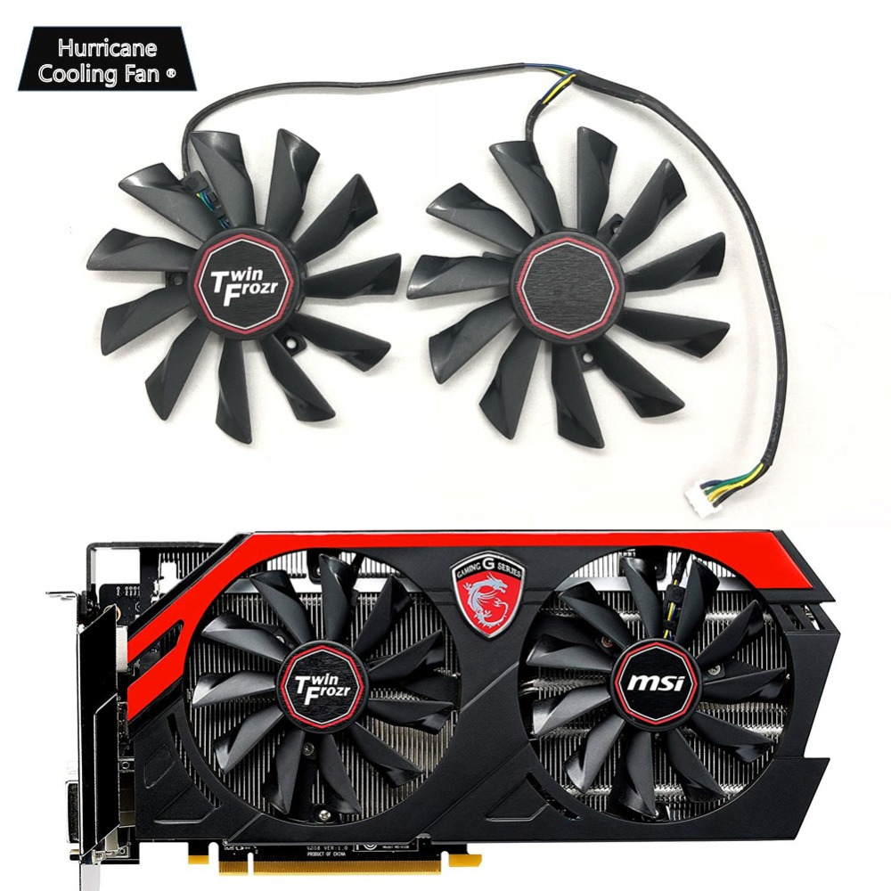 New PLD10010S12HH 95mm 4Pin Graphics Card Cooling Fan for MSI GTX 780Ti/780/760/750Ti R9 290X/290/280X/280/270X GAMING Cooler-in Fans & Cooling from Computer & Office