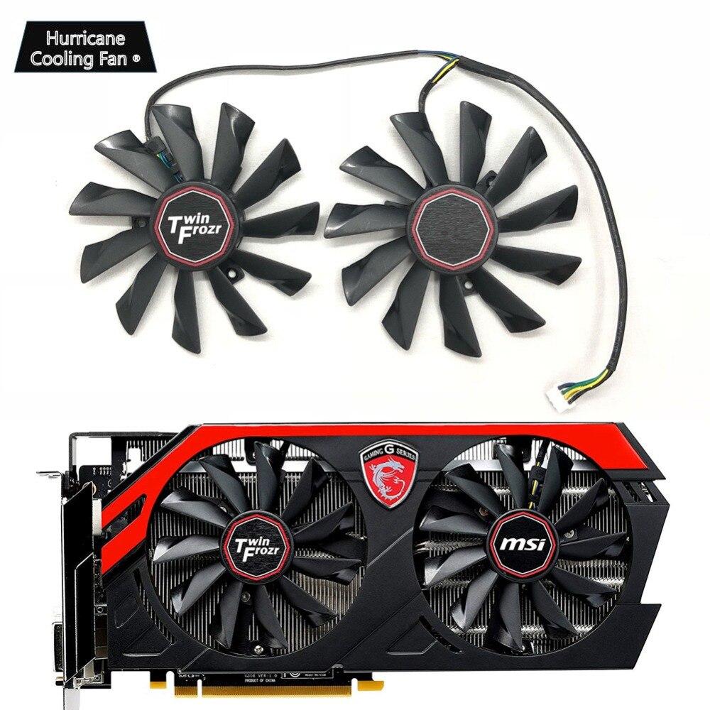 Новый охлаждающий вентилятор для видеокарты PLD10010S12HH 95 мм 4Pin для MSI GTX 780Ti/780/760/750Ti R9 290X/290/280X/280/270X игровой кулер-in Вентиляторы и охлаждение from Компьютер и офис