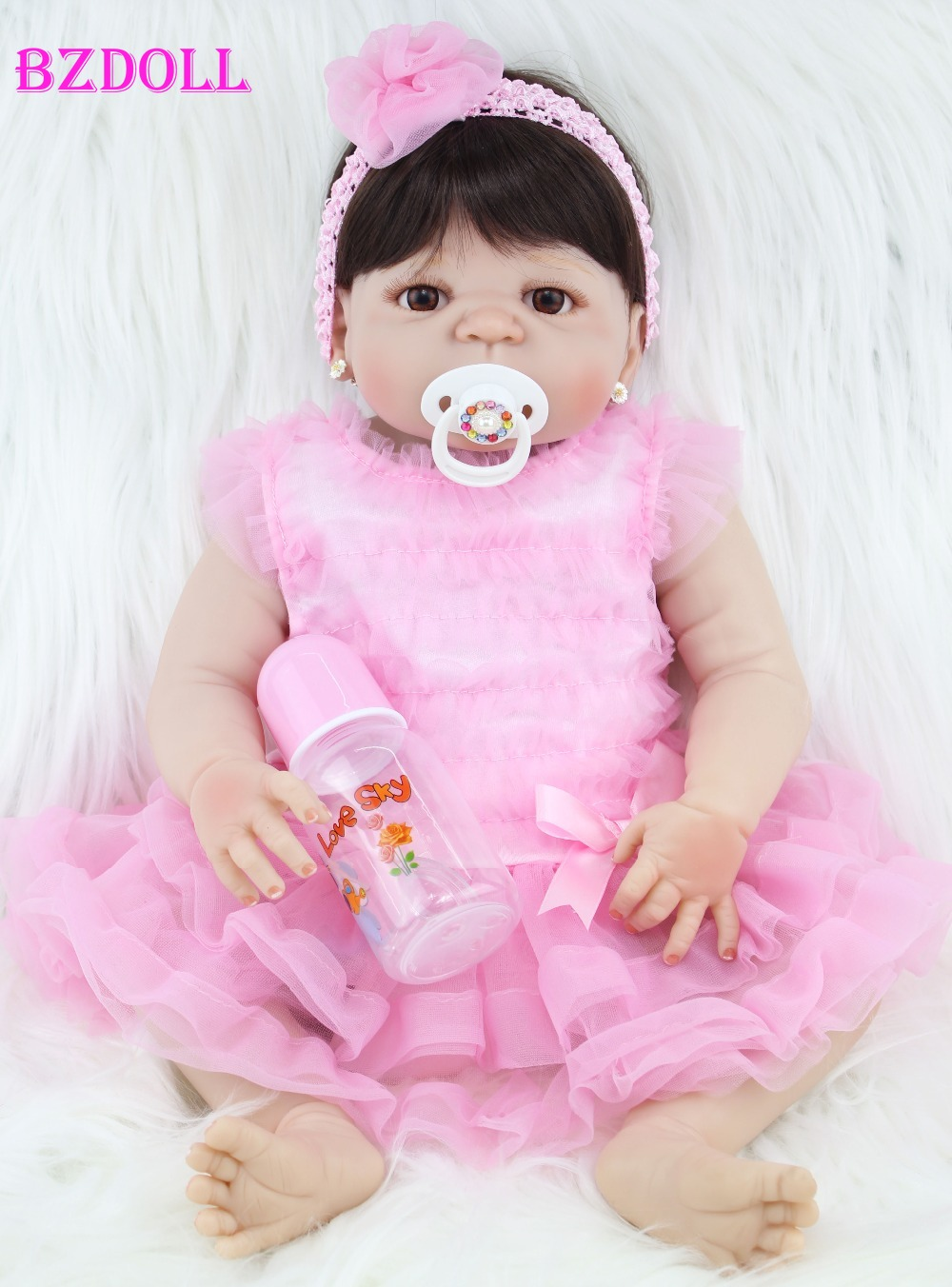 BZDOLL 55cm Full Silicone Reborn Girl Baby Doll Toys Lifelike Newborn Princess Girls Babies Doll Birthday
