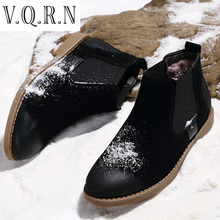 VQRN Men Ankle Boots,Warm Fur Snow Motocycle Botas Leather Suede Chelsea Boots Bullock Shoes Zapatillas Hombre