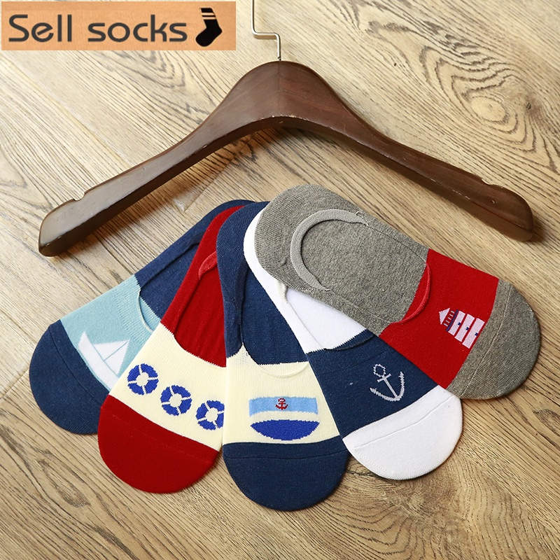High quality new summer Hot short man cotton socks invisible man sock slippers Silicone anti slip Casual 5pairs/lot