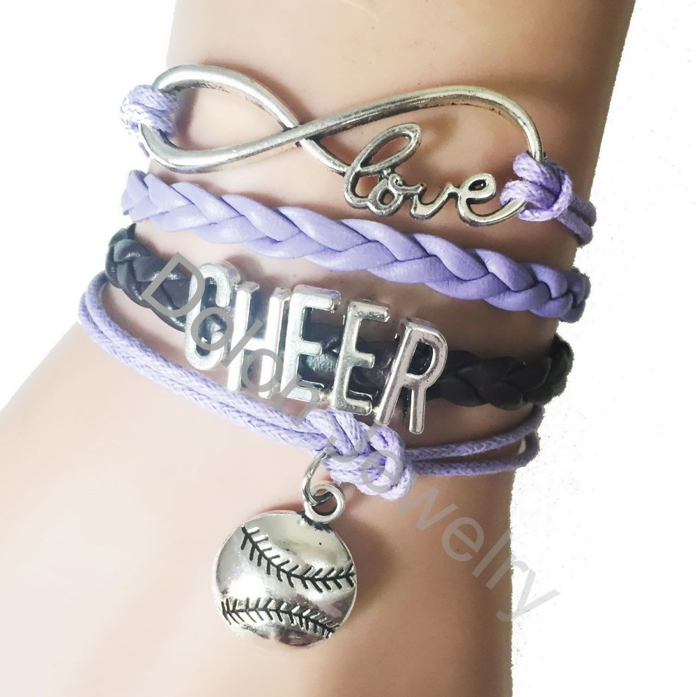 Personalized Purple Cord Leather Handmade Infinitiy Love Cheer Bracelet  With Softball Baseball Charm Bracelet Sports Jewelry