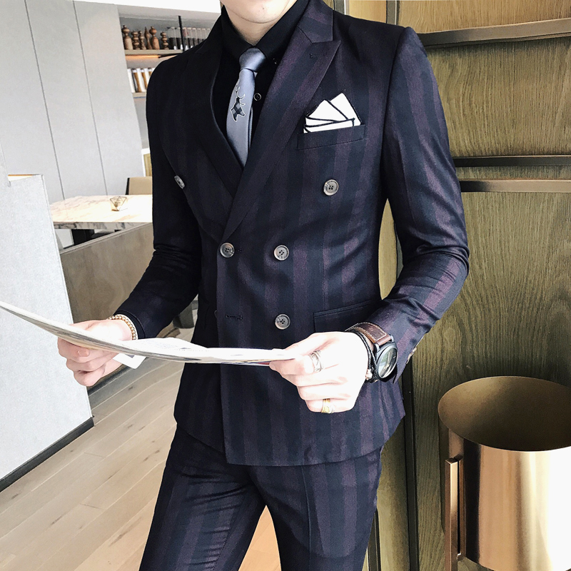 Suits Mens 2017 Double Breasted Suits Mens England Style Stripe Suits Mens Blue Bleiser Hombre Casual Slim Fit Social Club Dress