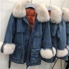 cc4d0ee1556 2018 Новое пуховое пальто с натуральным мехом зимняя джинсовая куртка синие  джинсы пальто Женская куртка-