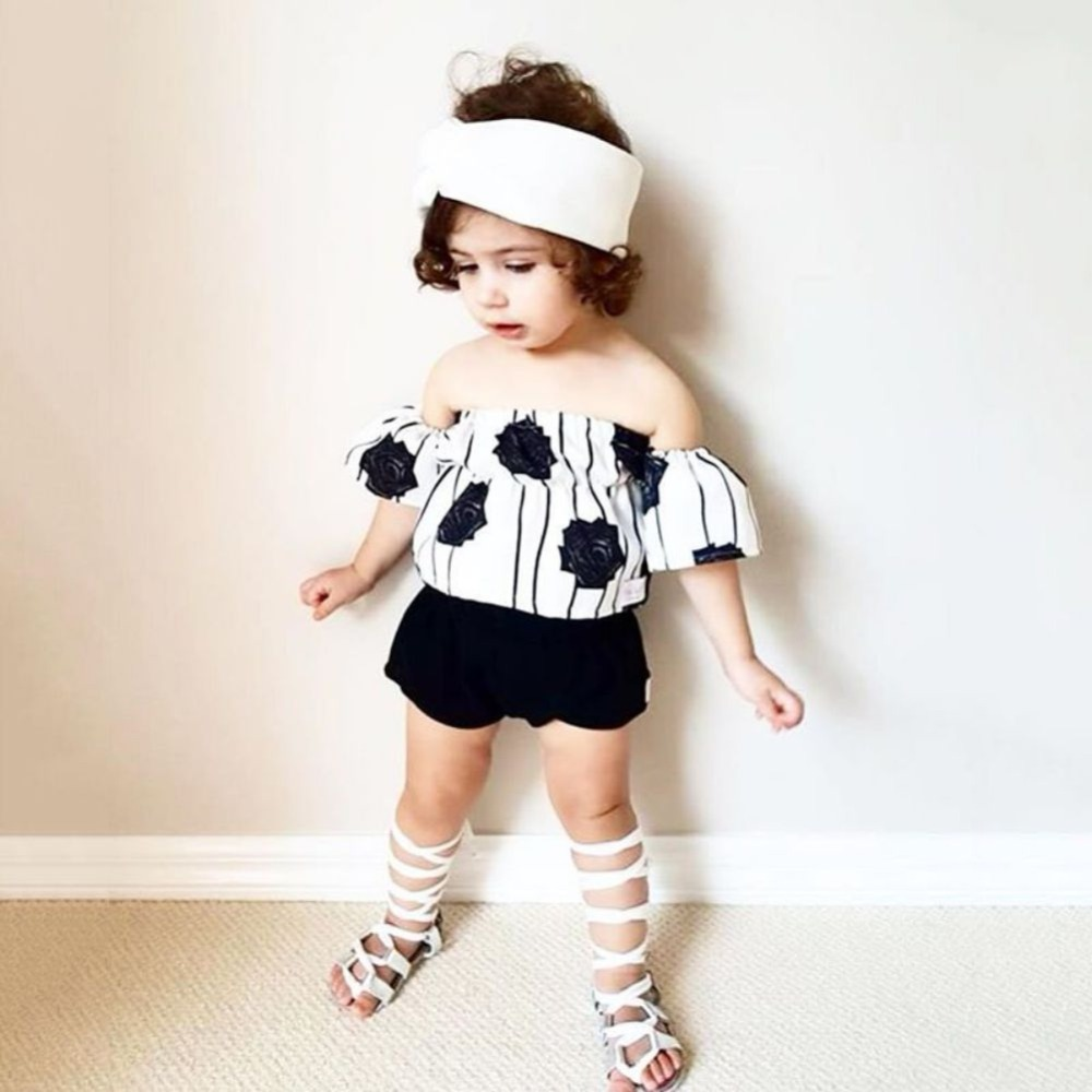 WEIXINBUY Baby Girl Clothes Newborn Infant Baby Girl Off Shoulder Flower Rose Striped Tops+Shorts Outfit Set Zs100