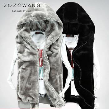 цена ZOZOWANG 2019 Vest men winter autumn thick men's vest male vest warm Fleece men's mink hooded vest male vest coat jacket men онлайн в 2017 году