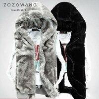 ZOZOWANG 2019 Vest men winter autumn thick men's vest male vest warm Fleece men's mink hooded vest male vest coat jacket men