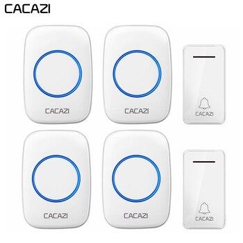 CACAZI автономный беспроводной дверной звонок Водонепроницаемый без батареи US EU UK Plug 2 кнопки 4 приемника Led light Домашний Беспроводной Дверной З... >> Shop3558012 Store