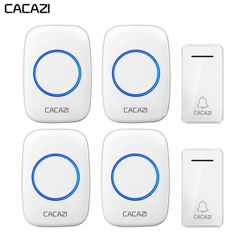 CACAZI автономный беспроводной дверной звонок водостойкий без батареи США EU UK штекер 2 кнопки 4 приемника светодио дный свет Домашний Беспрово...
